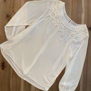 Loft cream blouse Sz L. Embroidered neckline.